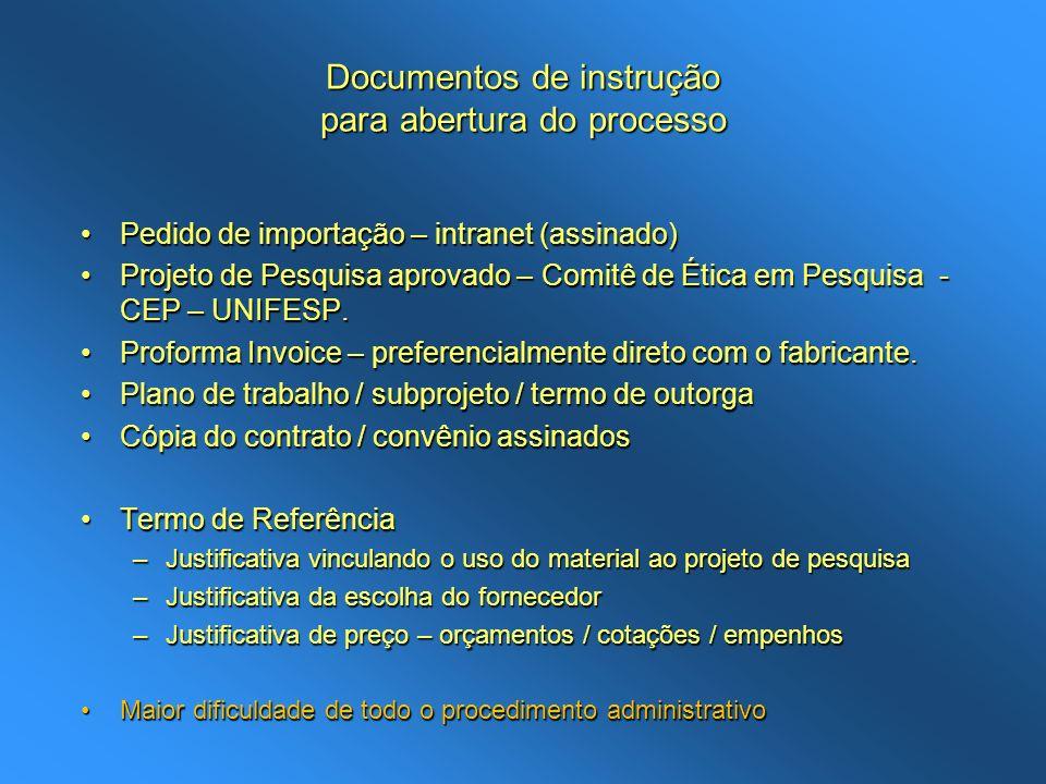 Documentos de instrução para abertura do processo Pedido de importação – intranet (assinado)Pedido de importação – intranet (assinado) Projeto de Pesq
