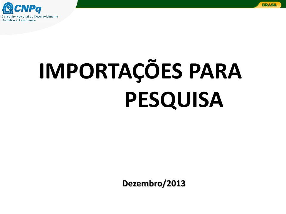 IMPORTAÇÕES PARA PESQUISA Dezembro/2013