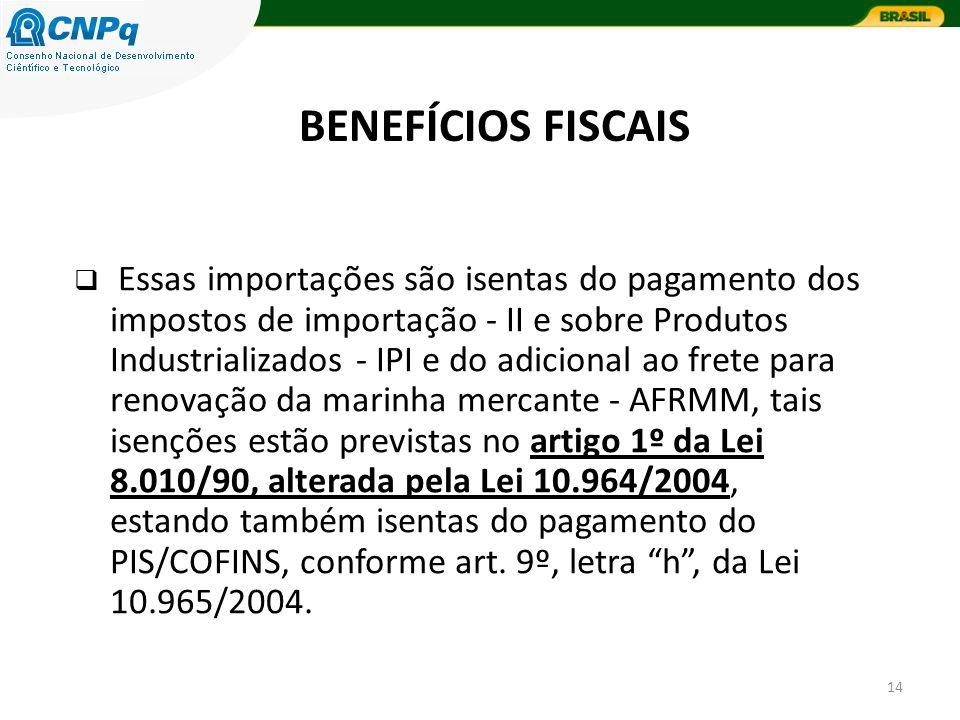 14 Essas importações são isentas do pagamento dos impostos de importação - II e sobre Produtos Industrializados - IPI e do adicional ao frete para ren