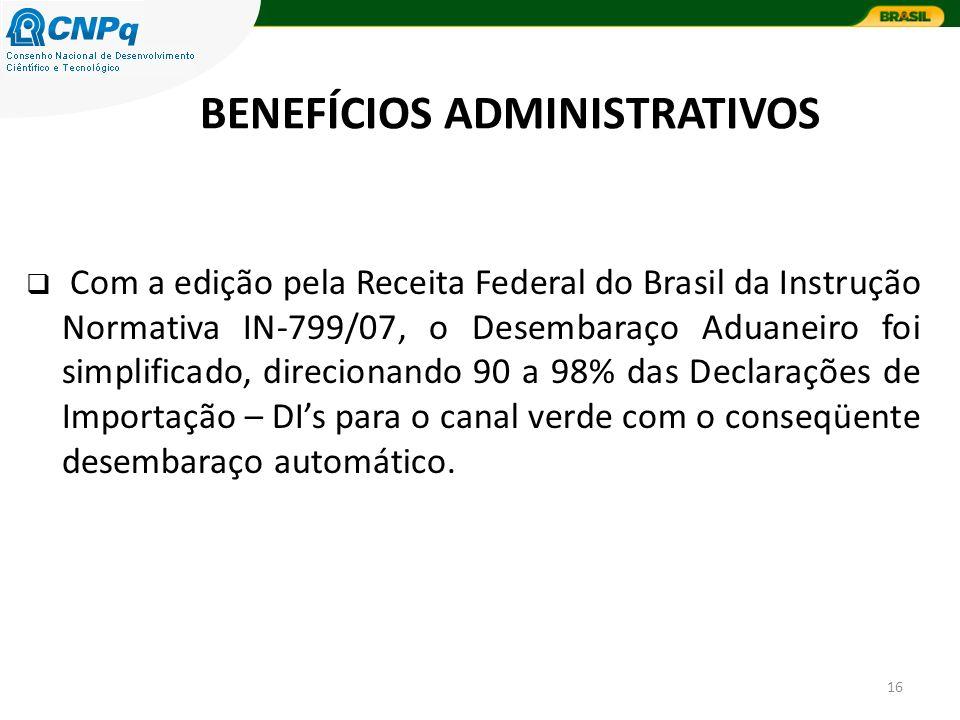 16 Com a edição pela Receita Federal do Brasil da Instrução Normativa IN-799/07, o Desembaraço Aduaneiro foi simplificado, direcionando 90 a 98% das Declarações de Importação – DIs para o canal verde com o conseqüente desembaraço automático.
