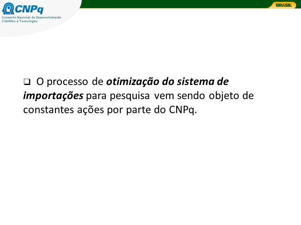 O processo de otimização do sistema de importações para pesquisa vem sendo objeto de constantes ações por parte do CNPq.