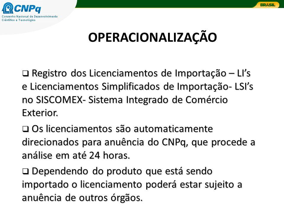 OPERACIONALIZAÇÃO Registro dos Licenciamentos de Importação – LIs e Licenciamentos Simplificados de Importação- LSIs no SISCOMEX- Sistema Integrado de Comércio Exterior.