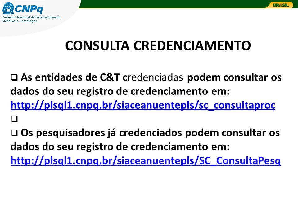 CONSULTA CREDENCIAMENTO As entidades de C&T credenciadas podem consultar os dados do seu registro de credenciamento em: http://plsql1.cnpq.br/siaceanuentepls/sc_consultaproc http://plsql1.cnpq.br/siaceanuentepls/sc_consultaproc Os pesquisadores já credenciados podem consultar os dados do seu registro de credenciamento em: http://plsql1.cnpq.br/siaceanuentepls/SC_ConsultaPesq