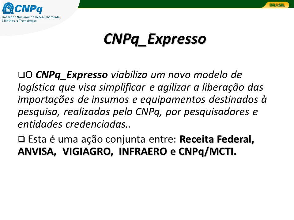 CNPq_Expresso O CNPq_Expresso viabiliza um novo modelo de logística que visa simplificar e agilizar a liberação das importações de insumos e equipamentos destinados à pesquisa, realizadas pelo CNPq, por pesquisadores e entidades credenciadas..