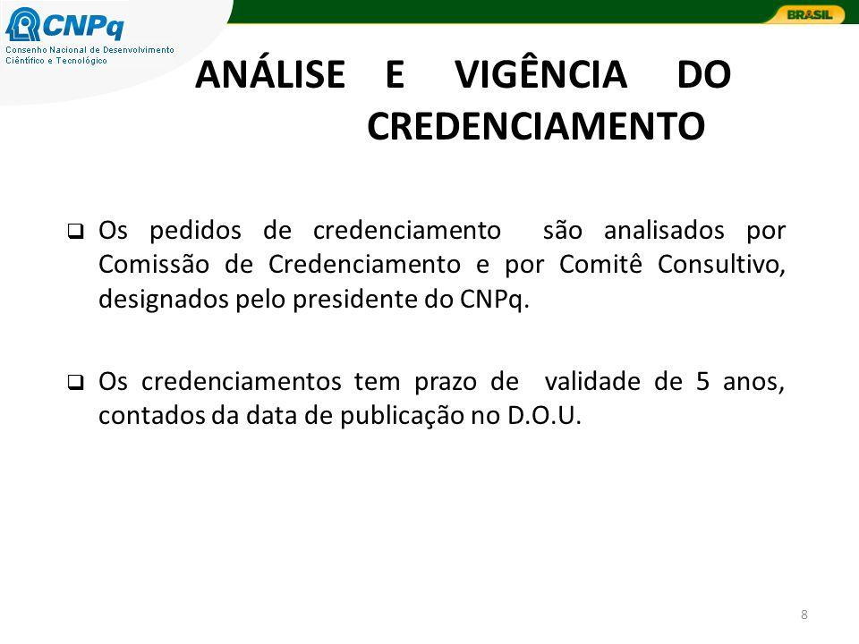 8 Os pedidos de credenciamento são analisados por Comissão de Credenciamento e por Comitê Consultivo, designados pelo presidente do CNPq.