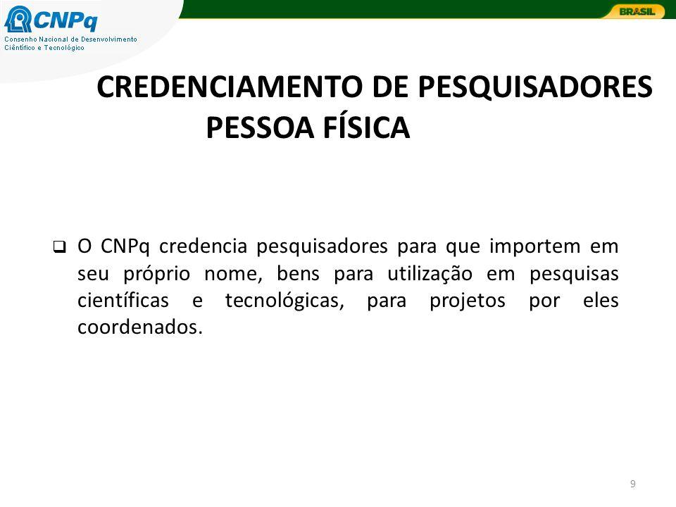 9 O CNPq credencia pesquisadores para que importem em seu próprio nome, bens para utilização em pesquisas científicas e tecnológicas, para projetos por eles coordenados.