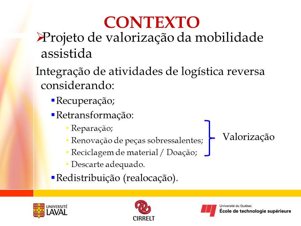 Projeto de valorização da mobilidade assistida Integração de atividades de logística reversa considerando: Recuperação; Retransformação: Reparação; Re