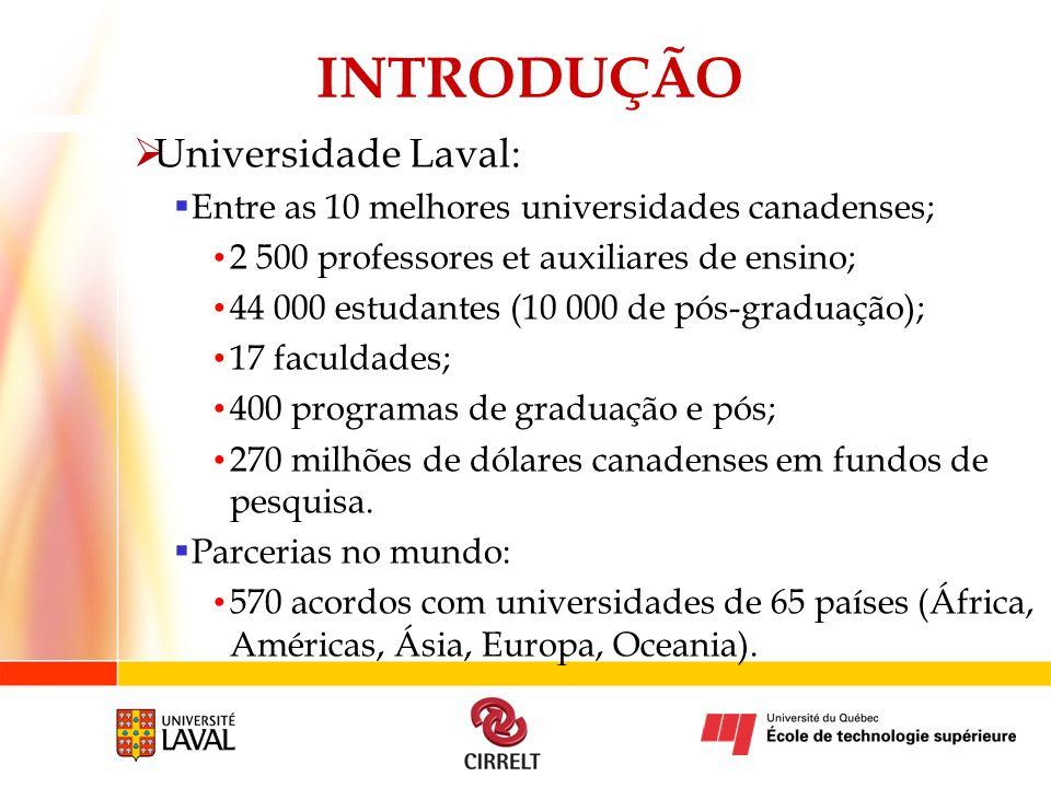 INTRODUÇÃO Universidade Laval: Entre as 10 melhores universidades canadenses; 2 500 professores et auxiliares de ensino; 44 000 estudantes (10 000 de