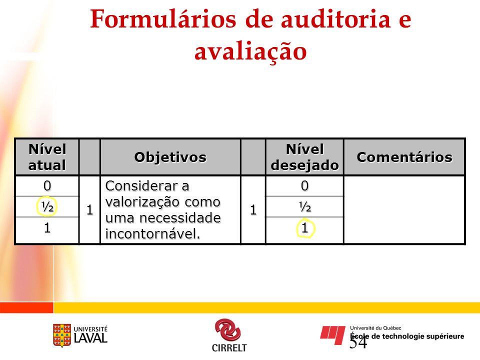 54 Formulários de auditoria e avaliação Nível atual Objetivos Nível desejado Comentários 0 1 Considerar a valorização como uma necessidade incontornáv