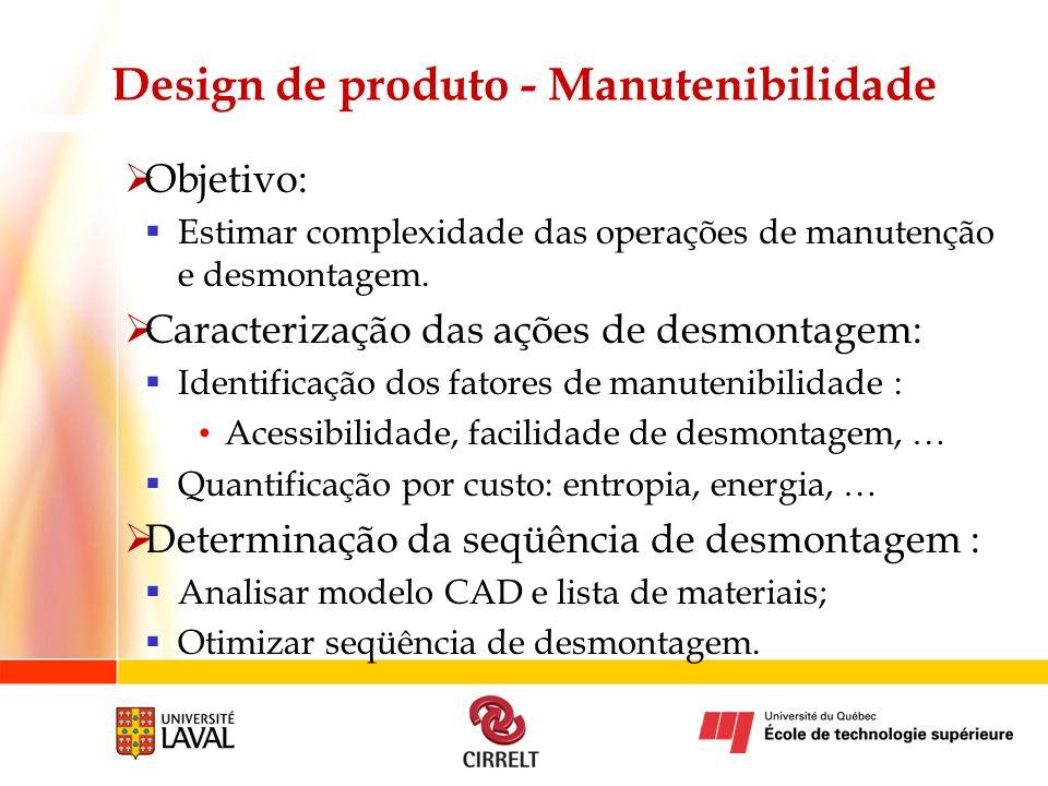Design de produto - Manutenibilidade Objetivo: Estimar complexidade das operações de manutenção e desmontagem. Caracterização das ações de desmontagem