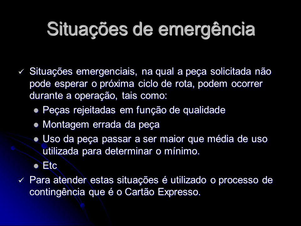 Situações de emergência Situações emergenciais, na qual a peça solicitada não pode esperar o próxima ciclo de rota, podem ocorrer durante a operação,