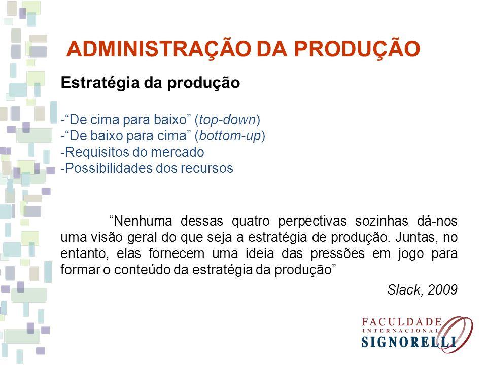ADMINISTRAÇÃO DA PRODUÇÃO Estratégia da produção -De cima para baixo (top-down) -De baixo para cima (bottom-up) -Requisitos do mercado -Possibilidades