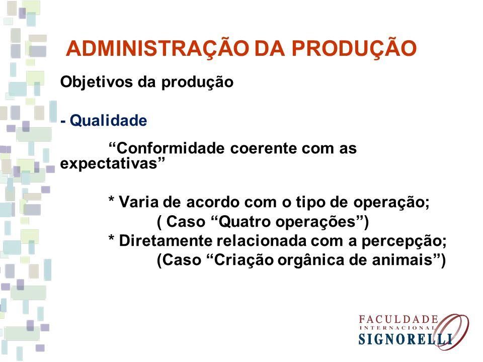 ADMINISTRAÇÃO DA PRODUÇÃO Objetivos da produção - Qualidade Conformidade coerente com as expectativas * Varia de acordo com o tipo de operação; ( Caso