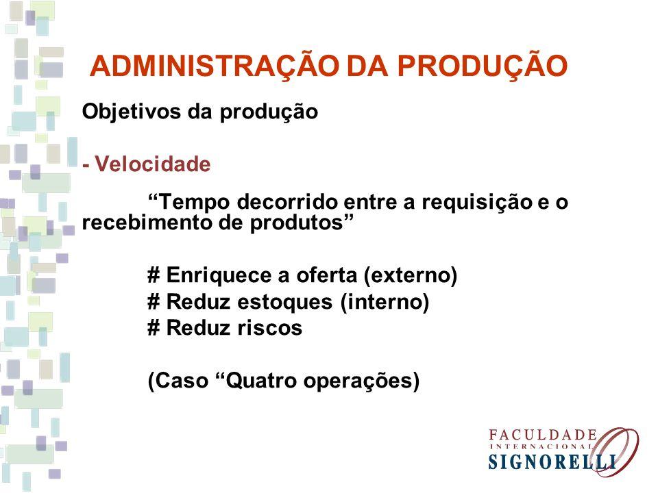 ADMINISTRAÇÃO DA PRODUÇÃO Objetivos da produção - Velocidade Tempo decorrido entre a requisição e o recebimento de produtos # Enriquece a oferta (exte