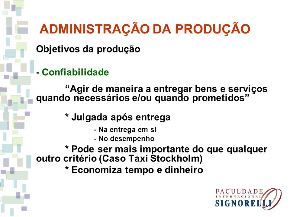 ADMINISTRAÇÃO DA PRODUÇÃO Objetivos da produção - Confiabilidade Agir de maneira a entregar bens e serviços quando necessários e/ou quando prometidos