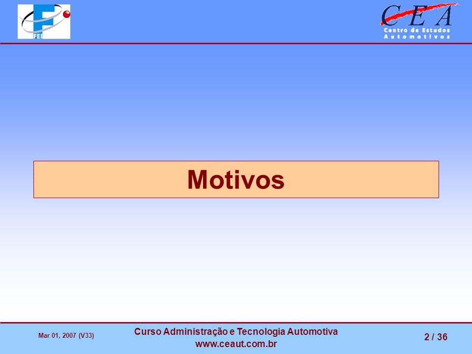 Mar 01, 2007 (V33) Curso Administração e Tecnologia Automotiva www.ceaut.com.br 2 / 36 Motivos