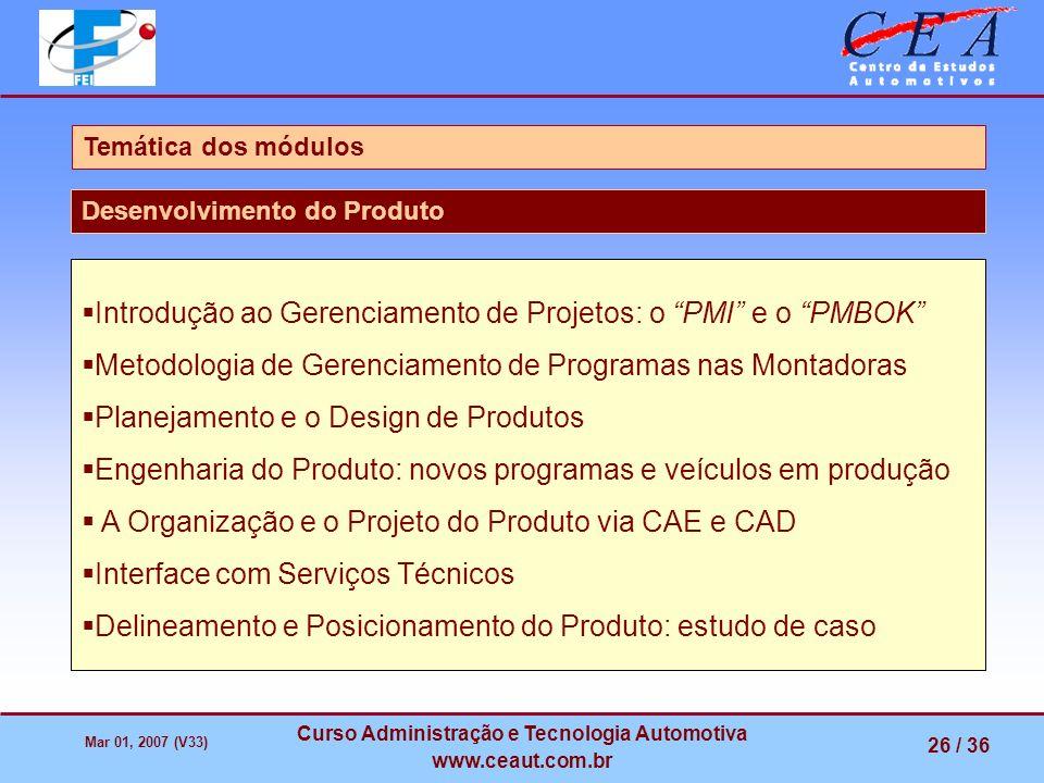 Mar 01, 2007 (V33) Curso Administração e Tecnologia Automotiva www.ceaut.com.br 26 / 36 Temática dos módulos Desenvolvimento do Produto Introdução ao