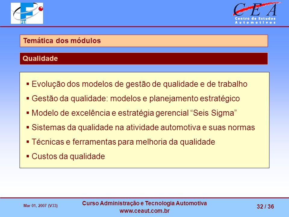Mar 01, 2007 (V33) Curso Administração e Tecnologia Automotiva www.ceaut.com.br 32 / 36 Temática dos módulos Qualidade Evolução dos modelos de gestão