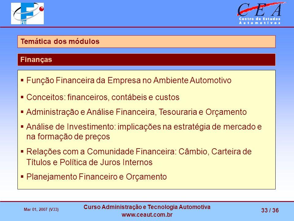 Mar 01, 2007 (V33) Curso Administração e Tecnologia Automotiva www.ceaut.com.br 33 / 36 Função Financeira da Empresa no Ambiente Automotivo Conceitos: