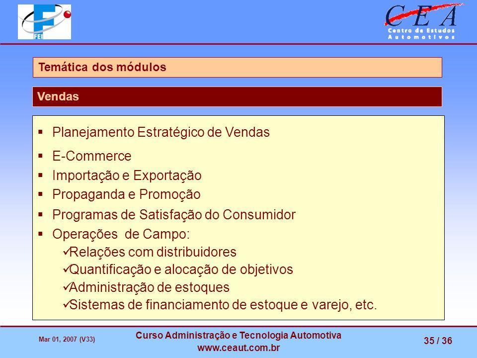 Mar 01, 2007 (V33) Curso Administração e Tecnologia Automotiva www.ceaut.com.br 35 / 36 Temática dos módulos Vendas Planejamento Estratégico de Vendas