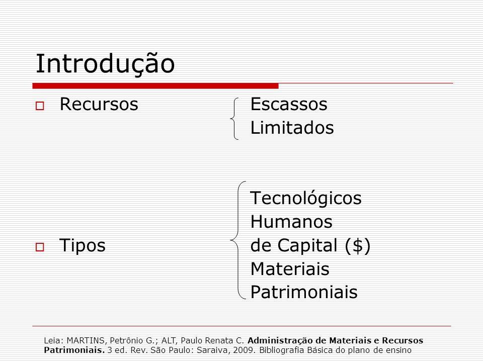 O que é Recurso é tudo que gera ou tem a capacidade de gerar riqueza (MARTINS & ALT; 2009, p.