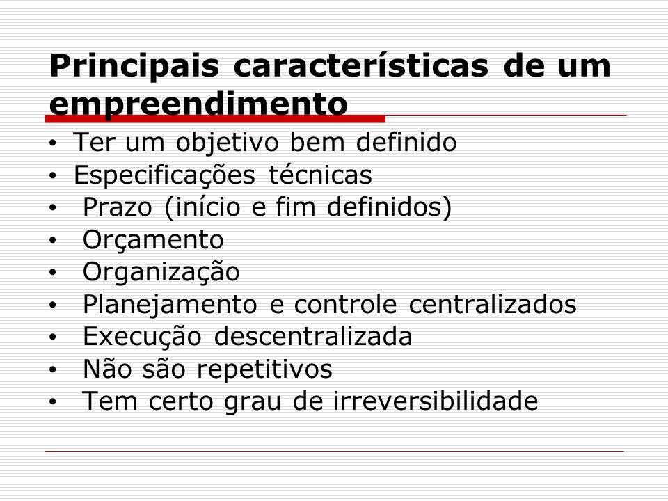 Principais características de um empreendimento Ter um objetivo bem definido Especificações técnicas Prazo (início e fim definidos) Orçamento Organização Planejamento e controle centralizados Execução descentralizada Não são repetitivos Tem certo grau de irreversibilidade