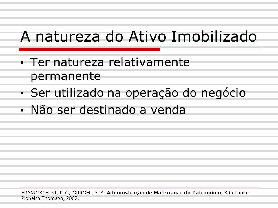 A natureza do Ativo Imobilizado Ter natureza relativamente permanente Ser utilizado na operação do negócio Não ser destinado a venda FRANCISCHINI, P.