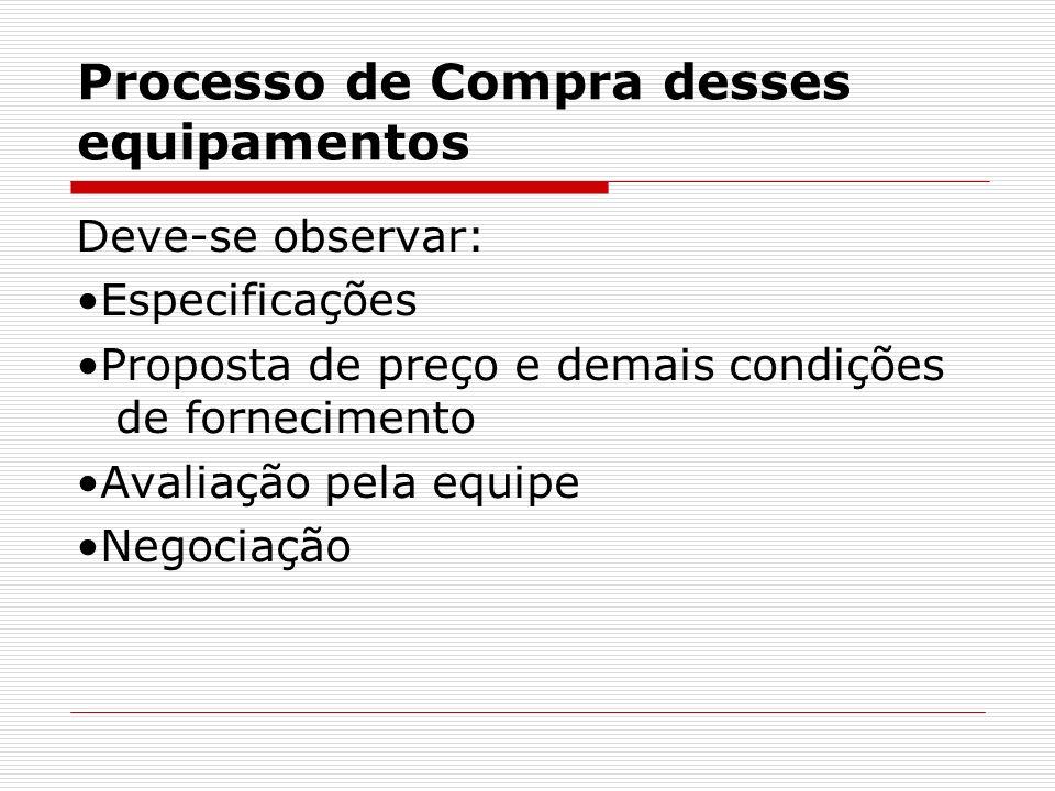 Processo de Compra desses equipamentos Deve-se observar: Especificações Proposta de preço e demais condições de fornecimento Avaliação pela equipe Negociação