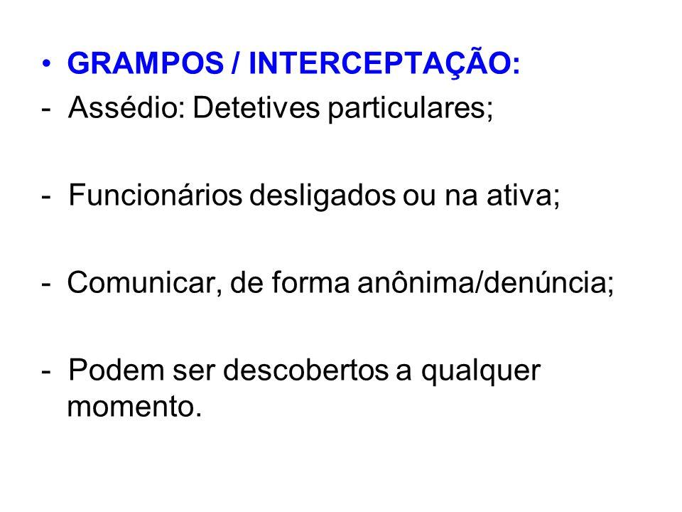 GRAMPOS / INTERCEPTAÇÃO: - Assédio: Detetives particulares; - Funcionários desligados ou na ativa; -Comunicar, de forma anônima/denúncia; - Podem ser descobertos a qualquer momento.