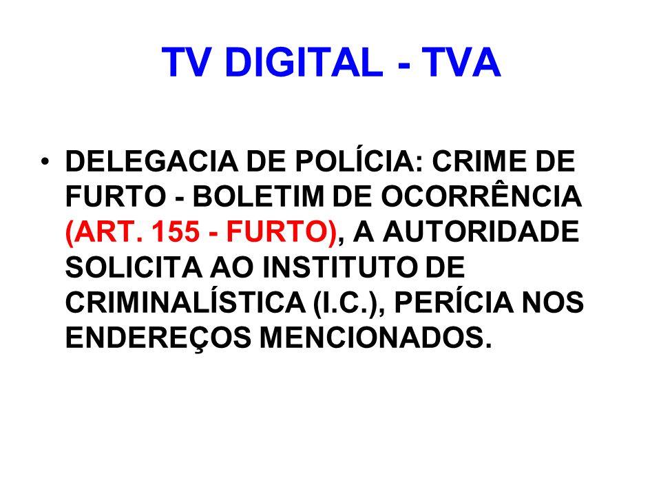 TV DIGITAL - TVA DELEGACIA DE POLÍCIA: CRIME DE FURTO - BOLETIM DE OCORRÊNCIA (ART.