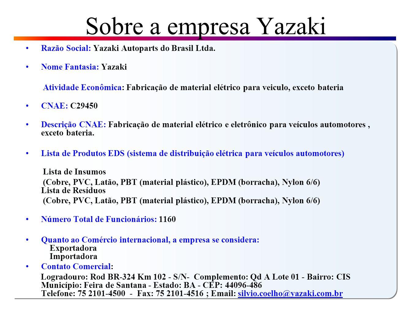 Sobre a empresa Yazaki Razão Social: Yazaki Autoparts do Brasil Ltda.