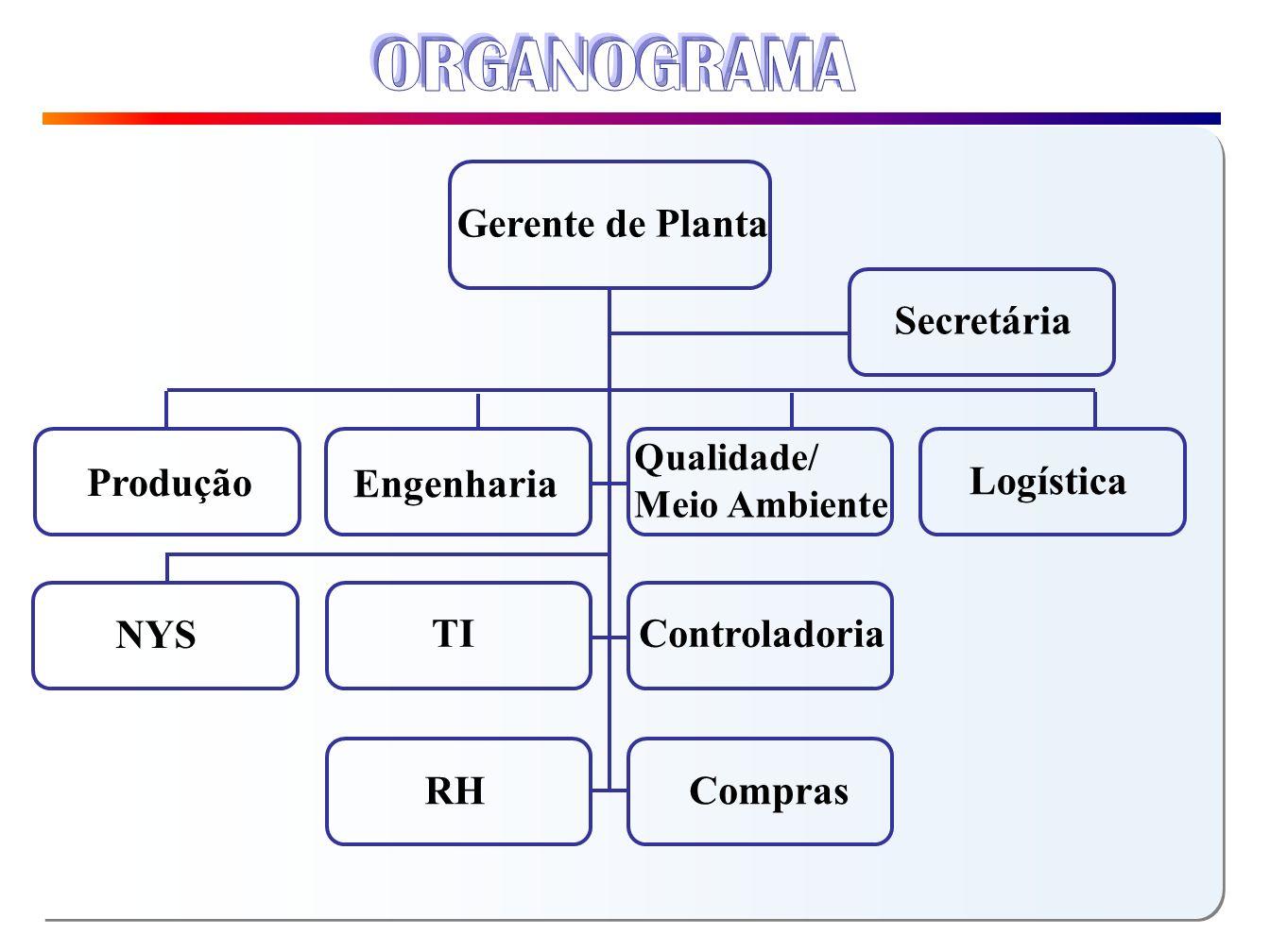 RH Controladoria TI Engenharia Produção Qualidade/ Meio Ambiente Compras NYS Secretária Gerente de Planta Logística