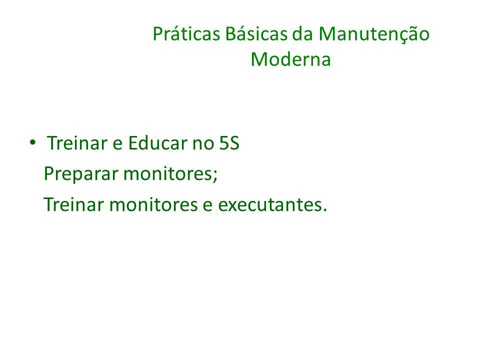 Práticas Básicas da Manutenção Moderna Treinar e Educar no 5S Preparar monitores; Treinar monitores e executantes.