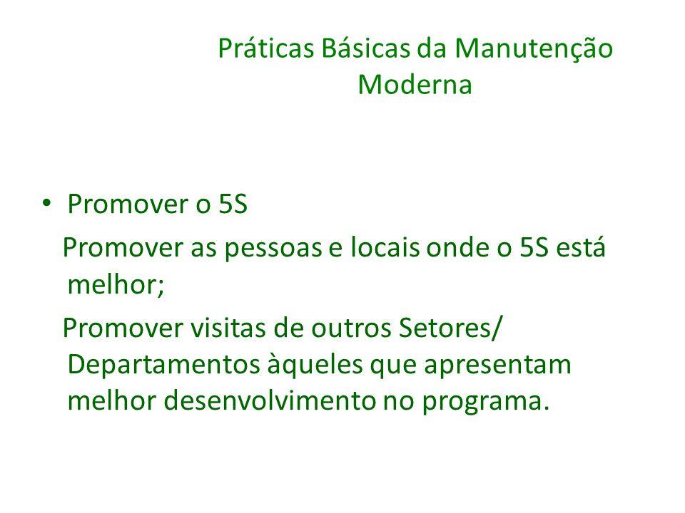Práticas Básicas da Manutenção Moderna Promover o 5S Promover as pessoas e locais onde o 5S está melhor; Promover visitas de outros Setores/ Departame
