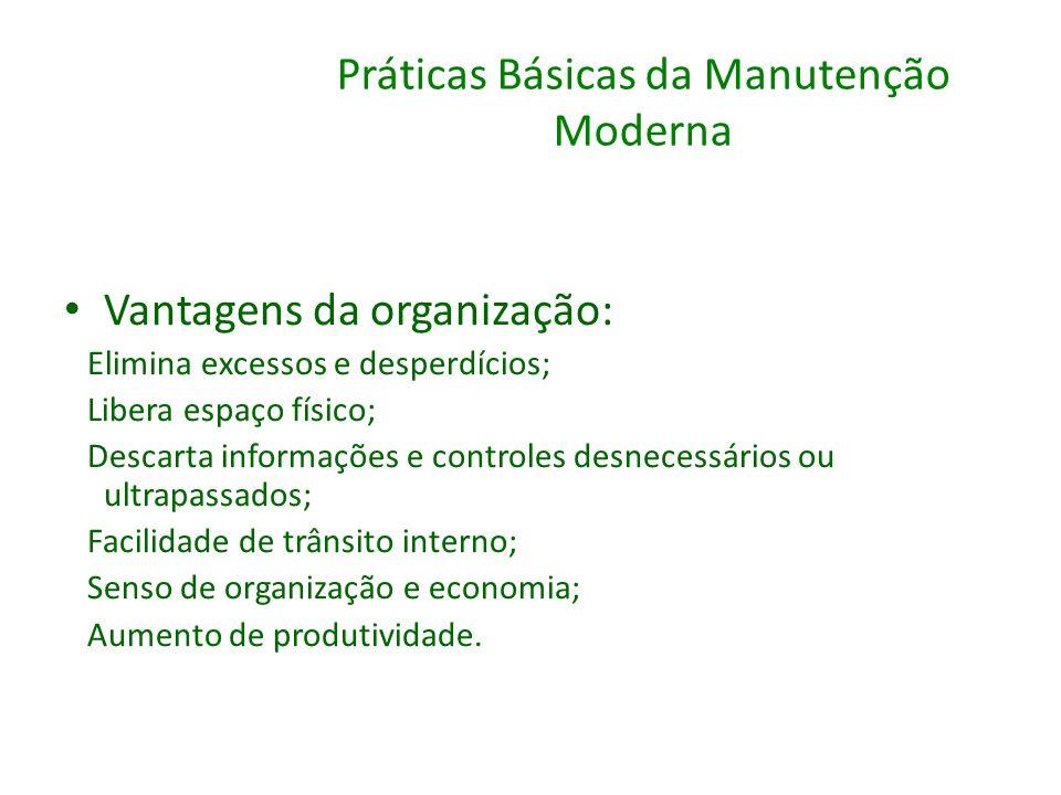 Práticas Básicas da Manutenção Moderna Vantagens da organização: Elimina excessos e desperdícios; Libera espaço físico; Descarta informações e control