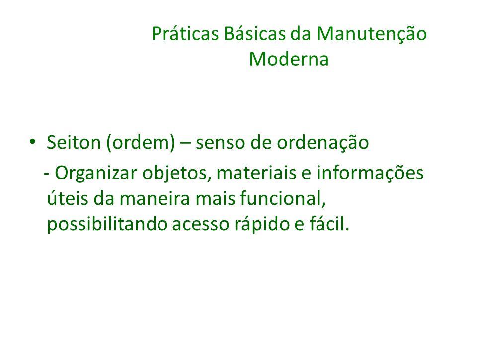 Práticas Básicas da Manutenção Moderna Seiton (ordem) – senso de ordenação - Organizar objetos, materiais e informações úteis da maneira mais funciona