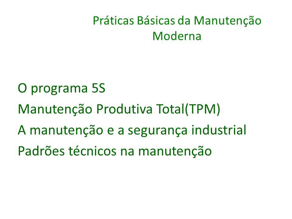 Práticas Básicas da Manutenção Moderna O programa 5S Manutenção Produtiva Total(TPM) A manutenção e a segurança industrial Padrões técnicos na manuten
