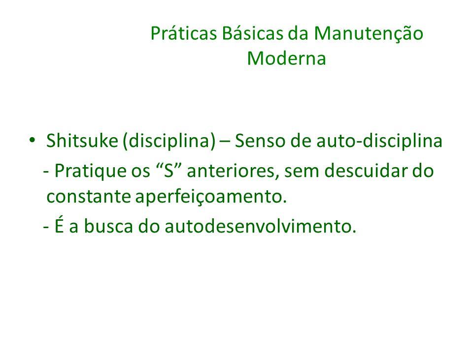 Práticas Básicas da Manutenção Moderna Shitsuke (disciplina) – Senso de auto-disciplina - Pratique os S anteriores, sem descuidar do constante aperfei