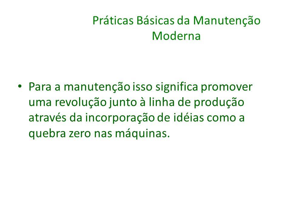 Práticas Básicas da Manutenção Moderna Para a manutenção isso significa promover uma revolução junto à linha de produção através da incorporação de id