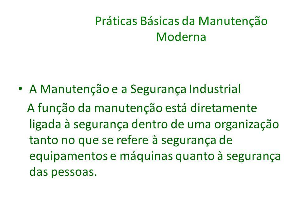 Práticas Básicas da Manutenção Moderna A Manutenção e a Segurança Industrial A função da manutenção está diretamente ligada à segurança dentro de uma