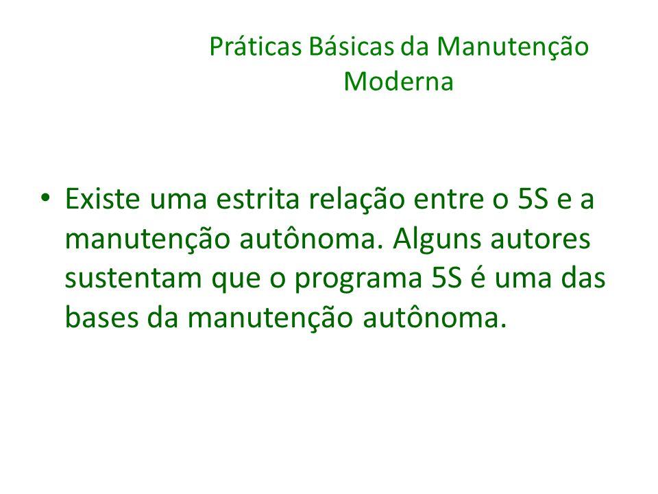 Práticas Básicas da Manutenção Moderna Existe uma estrita relação entre o 5S e a manutenção autônoma. Alguns autores sustentam que o programa 5S é uma