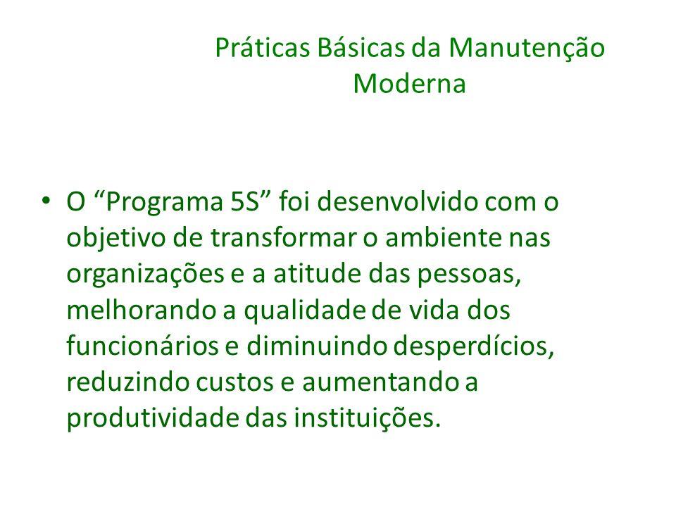 Práticas Básicas da Manutenção Moderna O Programa 5S foi desenvolvido com o objetivo de transformar o ambiente nas organizações e a atitude das pessoa