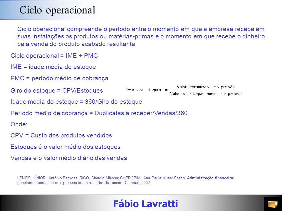 Fábio Lavratti Ciclos operacional e de caixa LEMES JÚNIOR, Antônio Barbosa; RIGO, Cláudio Miessa; CHEROBIM, Ana Paula Mussi Szabo. Administração finan