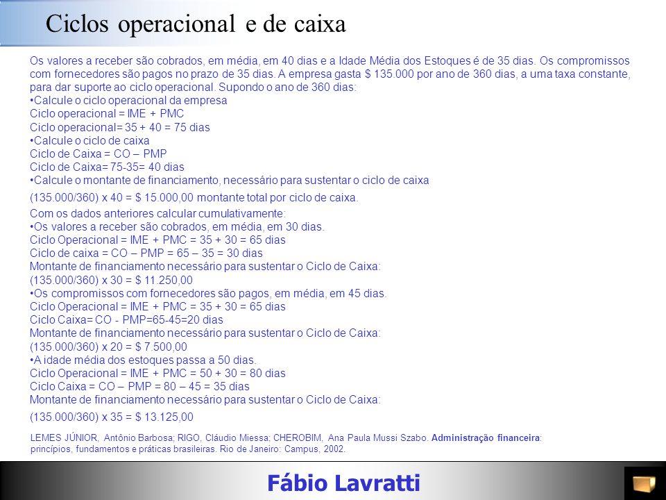 Fábio Lavratti Ciclo de caixa LEMES JÚNIOR, Antônio Barbosa; RIGO, Cláudio Miessa; CHEROBIM, Ana Paula Mussi Szabo. Administração financeira: princípi