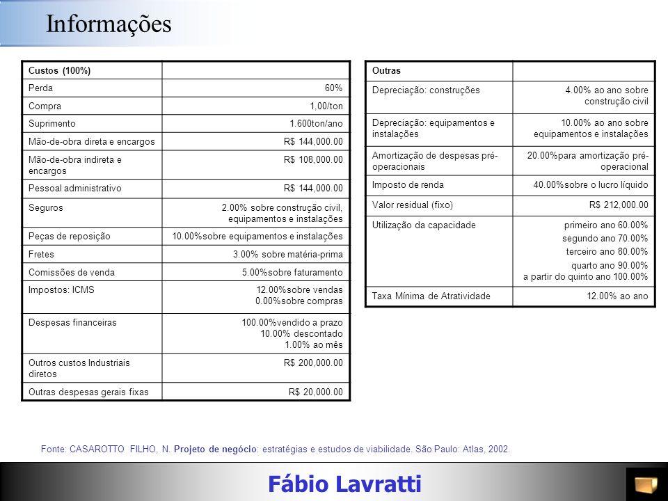 Fábio Lavratti Informações Custos (100%) Perda60% Compra1,00/ton Suprimento1.600ton/ano Mão-de-obra direta e encargosR$ 144,000.00 Mão-de-obra indireta e encargos R$ 108,000.00 Pessoal administrativoR$ 144,000.00 Seguros2.00% sobre construção civil, equipamentos e instalações Peças de reposição10.00%sobre equipamentos e instalações Fretes3.00% sobre matéria-prima Comissões de venda5.00%sobre faturamento Impostos: ICMS12.00%sobre vendas 0.00%sobre compras Despesas financeiras100.00%vendido a prazo 10.00% descontado 1.00% ao mês Outros custos Industriais diretos R$ 200,000.00 Outras despesas gerais fixasR$ 20,000.00 Fonte: CASAROTTO FILHO, N.
