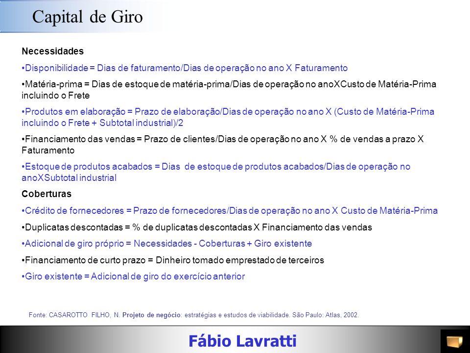 Fábio Lavratti Informações Fonte: CASAROTTO FILHO, N. Projeto de negócio: estratégias e estudos de viabilidade. São Paulo: Atlas, 2002. Despesas gerai