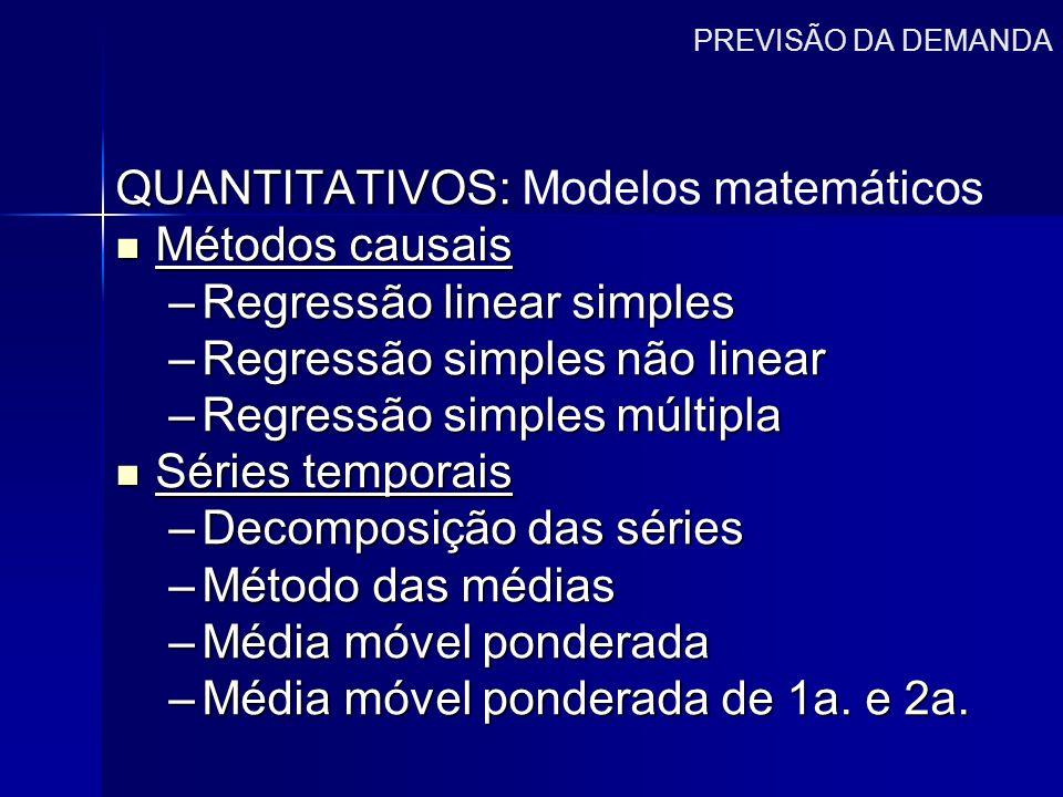 PREVISÃO DA DEMANDA QUANTITATIVOS: QUANTITATIVOS: Modelos matemáticos Métodos causais Métodos causais –Regressão linear simples –Regressão simples não