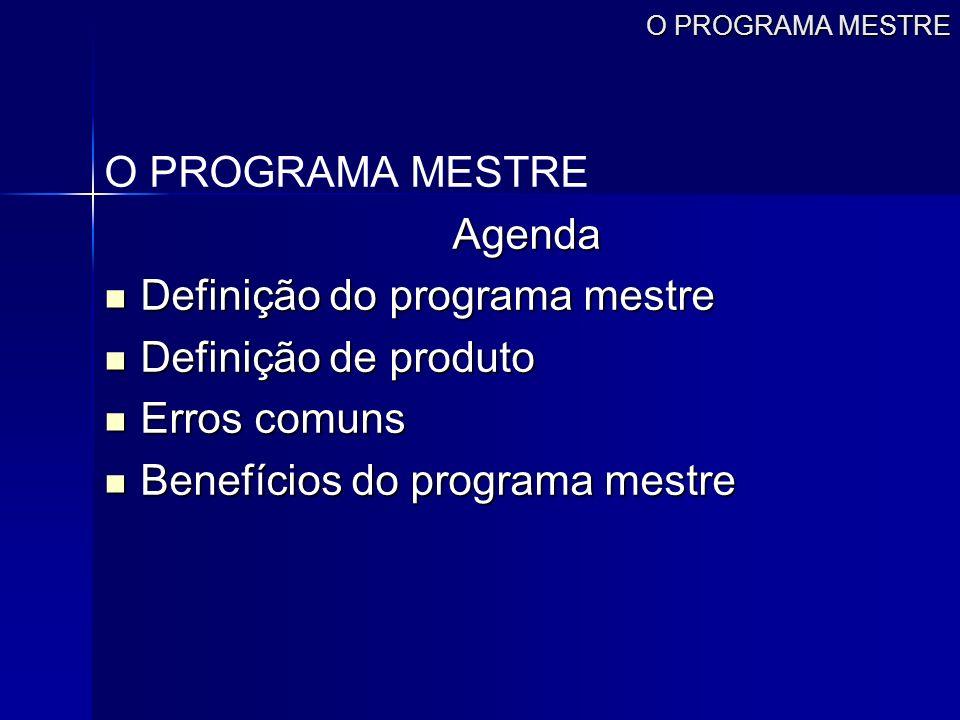 O PROGRAMA MESTRE Agenda Definição do programa mestre Definição do programa mestre Definição de produto Definição de produto Erros comuns Erros comuns