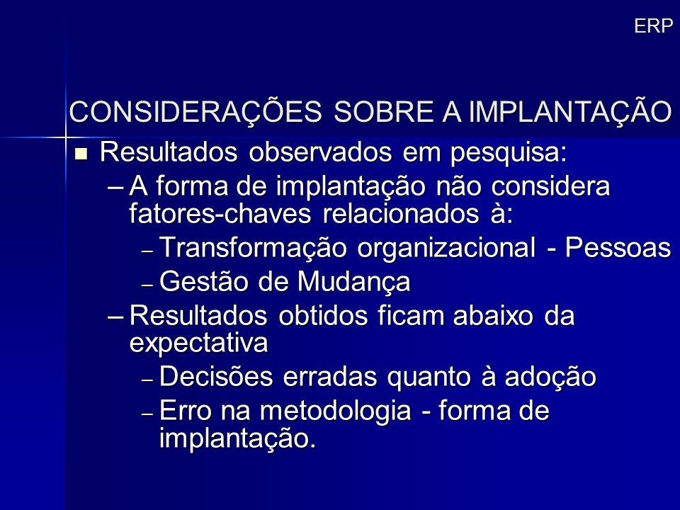 ERP Resultados observados em pesquisa: Resultados observados em pesquisa: –A forma de implantação não considera fatores-chaves relacionados à: – Trans