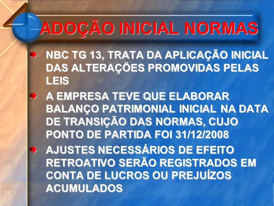NBC TG 37, TRATA DA APLICAÇÃO INICIAL DAS NORMAS INTERNACIONAIS CONTÁBEIS A PARTIR DE 2010 A EMPRESA DEVERIA ELABORAR UM BALANÇO PATRIMONIAL DE ABERTURA DE ACORCO COM AS IFRSs NA DATA DE TRANSIÇÃO PARA AS IFRSs, PARA FINS COMPARATIVOS A INFORMAÇÃO COMPARATIVA PARA ATENDER A NBC TG 26, DEVE INCLUIR AO MENOS TRÊS BALANÇOS E DEMAIS PEÇAS ADOÇÃO INICIAL NORMAS